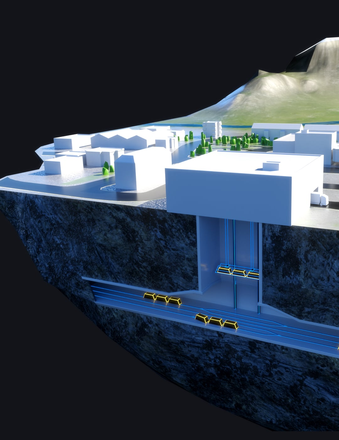Kenza work creation project SAP and Cargo Sous Terrain landscape and underground vehicles in virtual reality